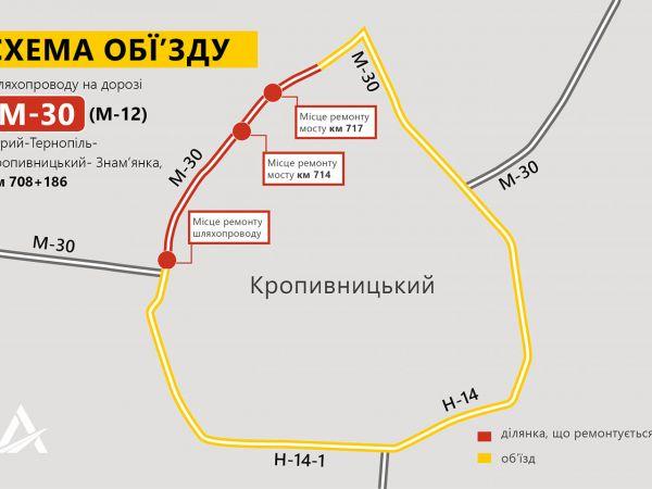 Дорога між Кропивницьким та селищем Нове закривається на ремонт (СХЕМА ОБ'ЇЗДУ)