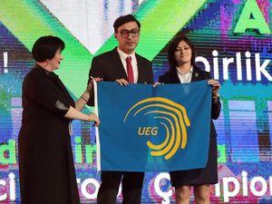 Україна отримала офіційний прапор проведення Євро-2020 з художньої гімнастики