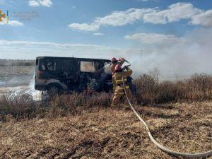 На Голованівщині згорів автобус Ford Tranzit
