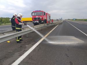 Кіровоградщина: У Благовіщенському районі рятувальники змили пальне з дороги
