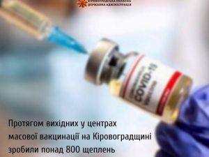 На вихідних вакцинувалося 800 мешканців області